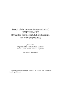 Sketch of the lectures Matematika MC (BMETE92MC11) (Unedited manuscript, full with errors,