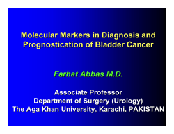 Molecular Markers in Diagnosis and Prognostication of Bladder Cancer Farhat Abbas M.D.