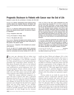 Prognostic Disclosure to Patients with Cancer near the End of... Background: