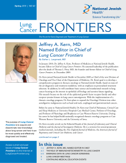 Frontiers Lung Cancer Jeffrey A. Kern, MD