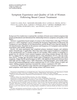 Symptom Experience and Quality of Life of Women