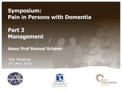 Symposium: Pain in Persons with Dementia  Part 3
