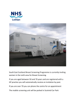 South East Scotland Breast Screening Programme is currently inviting