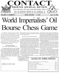 CONTACT World Imperialists' Oil Bourse Chess Game PHOENIX JOURNAL REVIEW