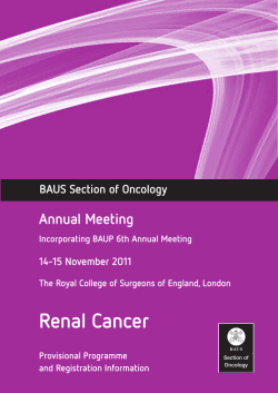 Renal Cancer Annual Meeting BAUS Section of Oncology 14-15 November 2011
