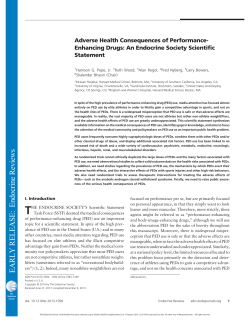 Adverse Health Consequences of Performance- Enhancing Drugs: An Endocrine Society Scientific Statement