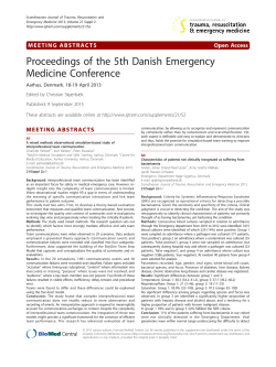 Proceedings of the 5th Danish Emergency Medicine Conference MEETING ABSTRACTS Open Access
