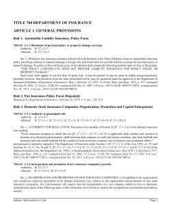 TITLE 760 DEPARTMENT OF INSURANCE ARTICLE 1. GENERAL PROVISIONS
