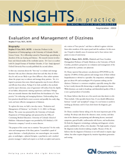 i n   p r a c t i... Evaluation and Management of Dizziness Biography