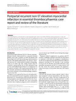 Postpartal recurrent non-ST elevation myocardial infarction in essential thrombocythaemia: case