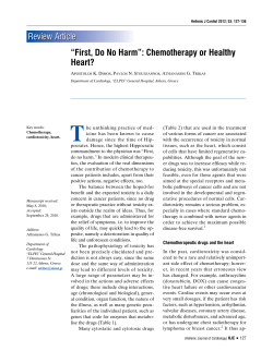 "T Review Article ""First, Do No Harm"": Chemotherapy or Healthy Heart?"