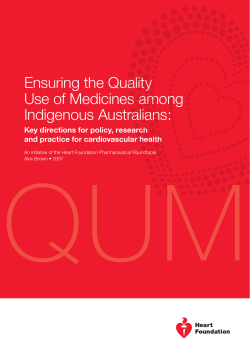 QUM Ensuring the Quality Use of Medicines among Indigenous Australians: