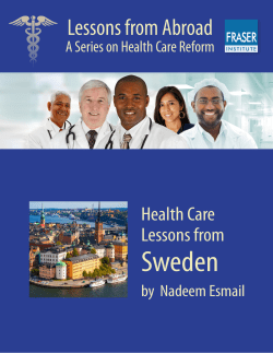 Sweden Lessons from Abroad Health Care Lessons from