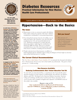 Diabetes Resources Hypertension—Back to the Basics Practical Information for New Mexico