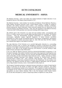 ECTS CATALOGUE MEDICAL UNIVERSITY – SOFIA