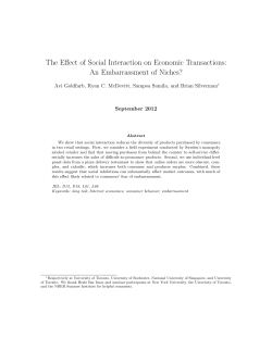 The Effect of Social Interaction on Economic Transactions: September 2012