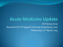 Dr Chrissy Gray Sessional GP, GP Support Unit and Ambulatory Care