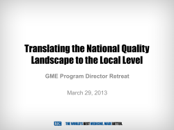 Translating the National Quality Landscape to the Local Level