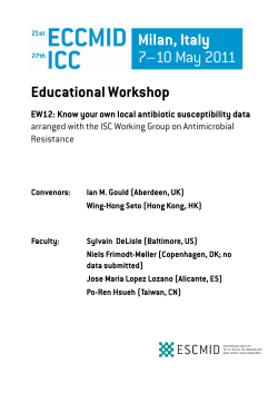 Educational Workshop EW12: Know your own local antibiotic susceptibility data Resistance
