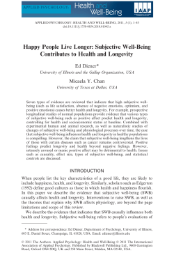 Happy People Live Longer: Subjective Well-Being Contributes to Health and Longevity
