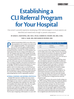 Establishing a CLI Referral Program for Your Hospital COVER STORY