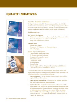 QUALITY INITIATIVES ACC/AHA Practice Guidelines
