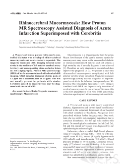 Rhinocerebral Mucormycosis: How Proton MR Spectroscopy Assisted Diagnosis of Acute