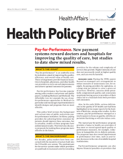 Health Policy Brief Pay-for-Performance.