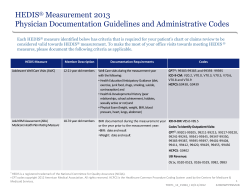 HEDIS Measurement 2013 Physician Documentation Guidelines and Administrative Codes ®