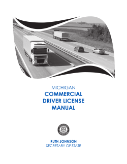 COMMERCIAL DRIVER LICENSE MANUAL MICHIGAN