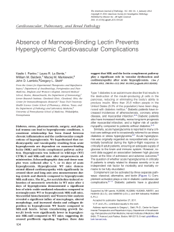 Absence of Mannose-Binding Lectin Prevents Hyperglycemic Cardiovascular Complications