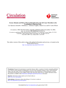 Serum Albumin and Risk of Myocardial Infarction and All-Cause Mortality... Framingham Offspring Study