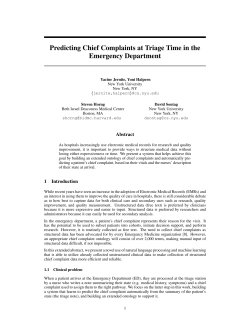 Predicting Chief Complaints at Triage Time in the Emergency Department