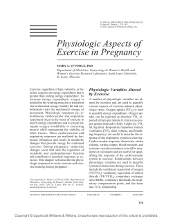 Physiologic Aspects of Exercise in Pregnancy