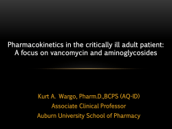 Pharmacokinetics in the critically ill adult patient: Associate Clinical Professor