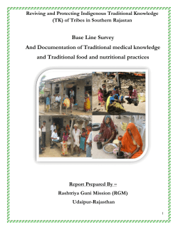 Base Line Survey And Documentation of Traditional medical knowledge