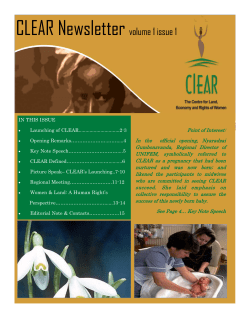 CLEAR Newsletter  volume 1 issue 1 Point of Interest: