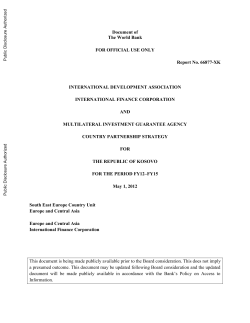 Document of The World Bank FOR OFFICIAL USE ONLY