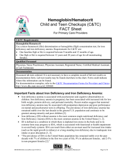 Hemoglobin/Hematocrit  Child and Teen Checkups (C&TC) For Primary Care Providers