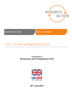 GTF 141 Annual Report 2012-2013  Governance and Transparency Fund 30