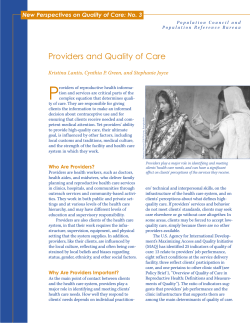 P Providers and Quality of Care