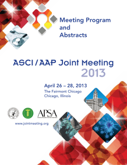 2013 ASCI / AAP Joint Meeting Meeting Program and
