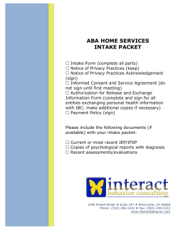 ABA HOME SERVICES INTAKE PACKET