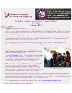 Alexandria Campaign on Adolescent Pregnancy (ACAP) eNewsletter February 2014 NEWS & EVENTS