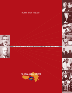 THE AFRICA-AMERICA INSTITUTE A CATALYST FOR FAR-REACHING CHANGE BIENNIAL REPORT 2002-2003