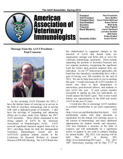 The AAVI Newsletter, Spring 2012