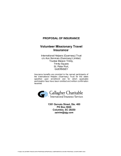 Volunteer Missionary Travel Insurance PROPOSAL OF