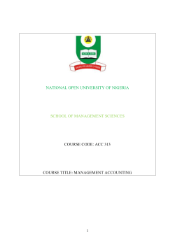 NATIONAL OPEN UNIVERSITY OF NIGERIA  COURSE CODE: ACC 313