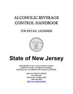 State of New Jersey  ALCOHOLIC BEVERAGE CONTROL HANDBOOK