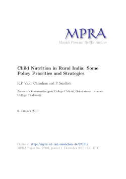 Child Nutrition in Rural India: Some Policy Priorities and Strategies